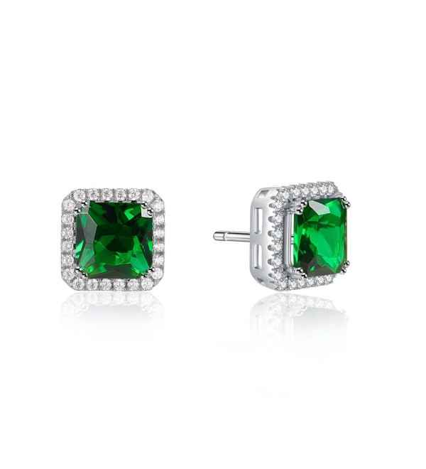 "2ct Green Cushion Shape Square Sterling Silver Halo Stud Earrings ""It's a circle"" gift - CA187SZ5D0R"