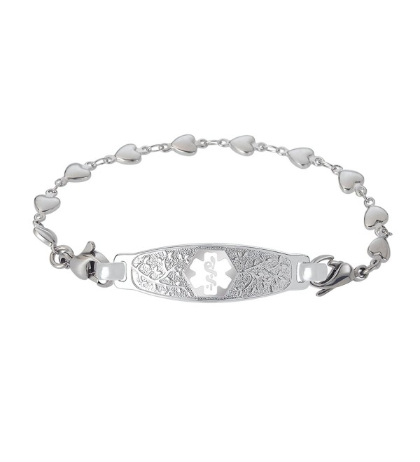 Divoti Custom Engraved Beautiful Olive Medical Alert Bracelet -Heart Link Stainless -White - CN188KZYR90