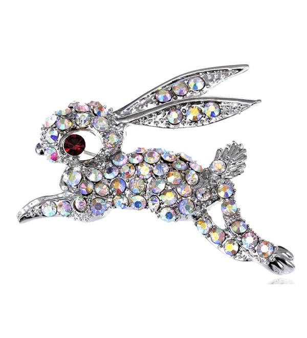 Alilang Silvery Tone Iridescent Rhinestones Rabbit Bunny Hop Brooch Pin - CA115YFMC77