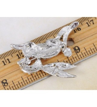 Alilang Silvery Iridescent Rhinestones Rabbit in Women's Brooches & Pins