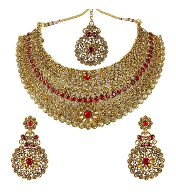 MUCHMORE Indian Amazing Traditional Gold Tone Necklace Earrings With Maag Tikka Jewelry for Women - CW183CN0K7I
