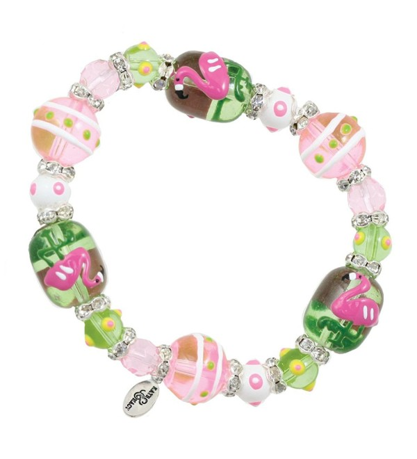 Clementine Design Kate & Macy Flamingo Dahling Bracelet Painted Glass Beads Rhinestones - CK11769L3E7