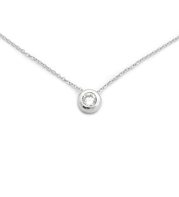 "Solid Sterling Silver Rhodium Plated Bezel Set Cubic Zirconia Solitaire Pendant Necklace- 18"" - CA11ZG95Z8T"