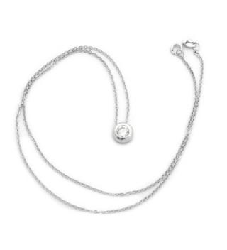 Sterling Rhodium Zirconia Solitaire Necklace in Women's Pendants