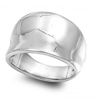 Sterling Silver Women's Concave Fashion Ring Cute Pure 925 Band 15mm Sizes 4-14 - CT11GQ4DGH5