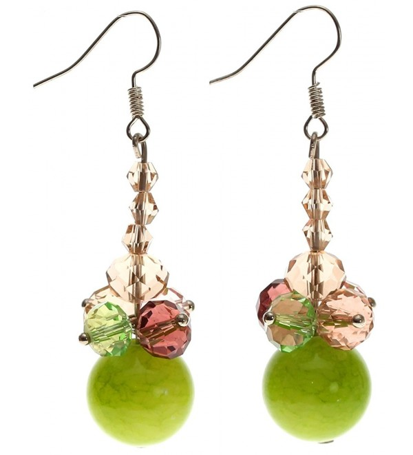 "Lova Jewelry ""Lime Clematis"" Handmade Murano Glass Earrings. - CB11N37CFON"