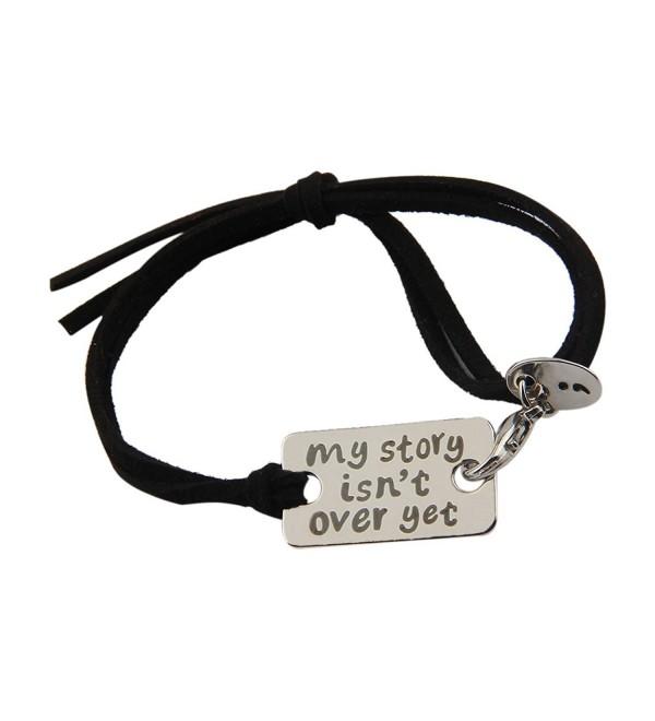 ZUOBAO My Story Isn't Over Yet Mental Health Awareness Wrap Bracelet - Silver A+black - C512OCJUJU8