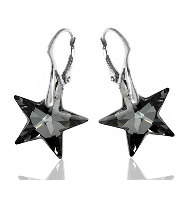 Royal Crystals Sterling Silver Made with Swarovski Crystals Grey Black Star Dangle Leverback Earrings - CH11VKORK9L
