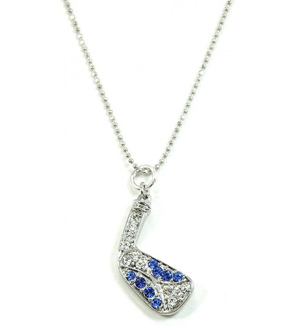 Sapphire Golf Club Necklace Adorned with Crystals From Swarovski - C2125Y7RT9Z