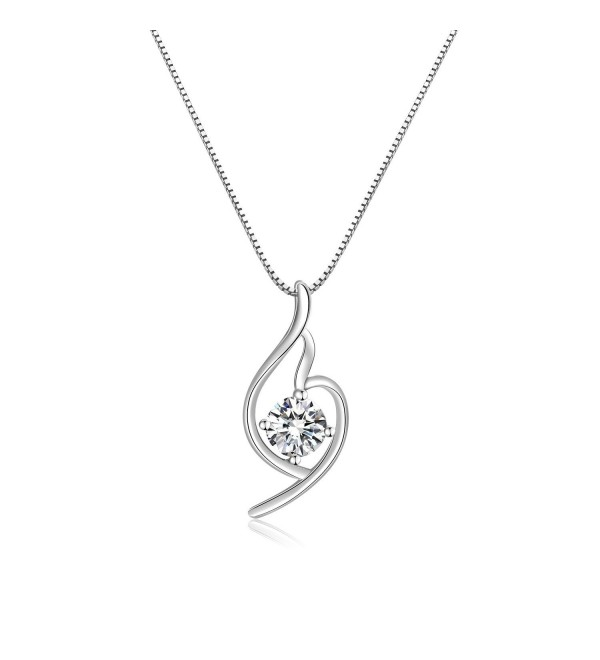 Platinum Italian designed PURE SILVER GREATEST LOVE Heart Pendant Necklace - CU17YXA2AZA