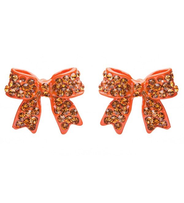 Fashion Crystal Pave Bow Ribbon Stud Earrings Orange - CC118TQNQAJ