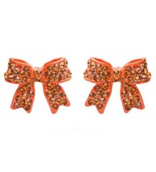 Fashion Crystal Pave Bow Ribbon Stud Earrings Orange - CC118TQNQAJ