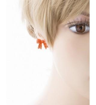 Fashion Crystal Ribbon Earrings Orange in Women's Stud Earrings