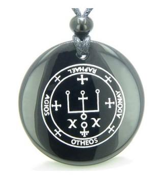Sigil of the Archangel Raphael Amulet Black Agate Magic Pendant Necklace - CU11B0L7PXF