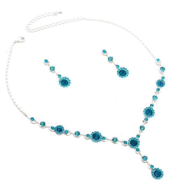 Silver Aqua Rhinestone Flower and Aqua Rhinestone T Necklace with Matching Dangle Earrings Set - CQ11G776THP