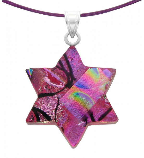 "Sterling Silver Dichroic Glass Pink Star of David Pendant Necklace on Stainless Steel Wire- 18"" - C211I2U36J9"