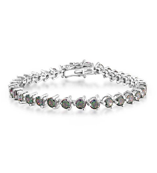 Bling Jewelry CZ Simulated Rainbow Topaz Tennis Bracelet Rhodium Plated - CR1158QFRDN