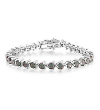 Bling Jewelry CZ Simulated Rainbow Topaz Tennis Bracelet Rhodium Plated - CR1158QFRDN