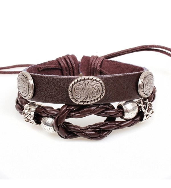 Modern Fantasy Charms Mixture Braided Rope Rococo Style Adjustble Christmas Gifts Metal Leather Bracelet - CB129ONWJAN