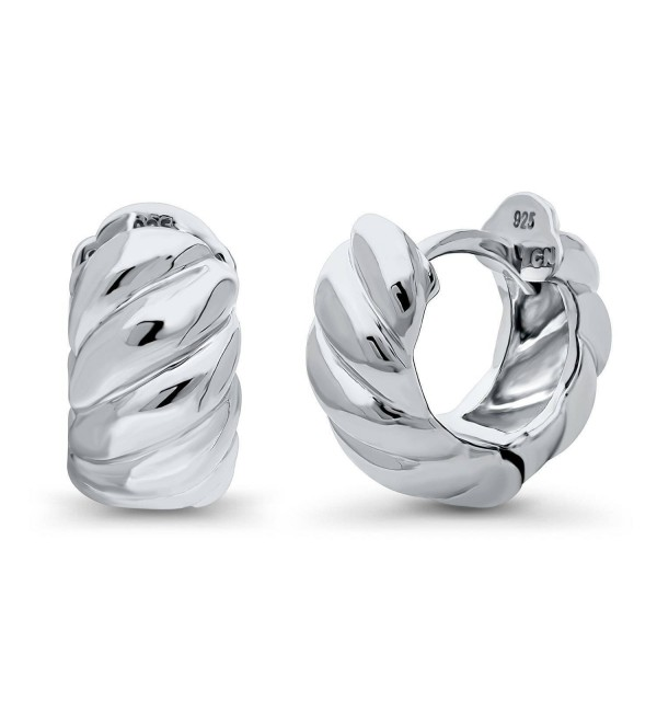 "BERRICLE Rhodium Plated Sterling Silver Cable Fashion Small Huggie Earrings 0.5"" - CF187EKEMY0"
