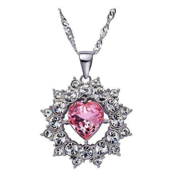 "SWEETV Pink Heart Swarovski Crystal Pendant Necklace with Silver Chain Jewelry Gift for Girls Women- 15""+2"" - CJ186ZGNUTX"