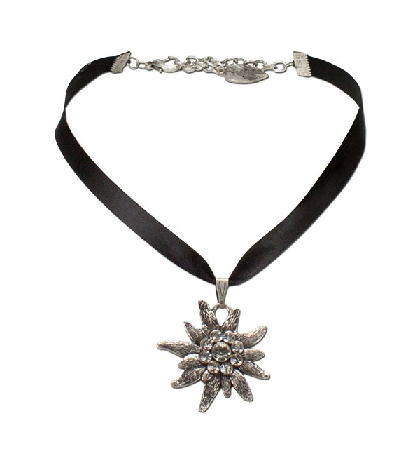 Bavarian Rhinestone Edelweiss Satin Necklace (Black) - Traditional German Dirndl- Lederhose Jewelry - CH11K4K9H9X