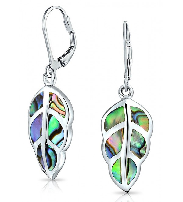 Bling Jewelry .925 Silver Abalone Shell Nature Leaf Drop Leverback Earrings - CC11WROXTXJ