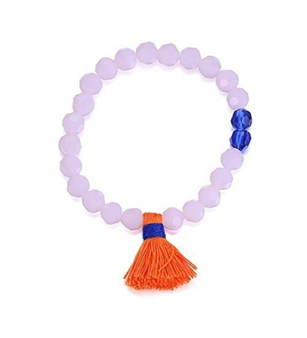 eManco Handmade Bohemian Turquoise Wood Bead Charm Tassel Stretch Bangle Bracelets for Women - lilac - CG12BMYYZA9