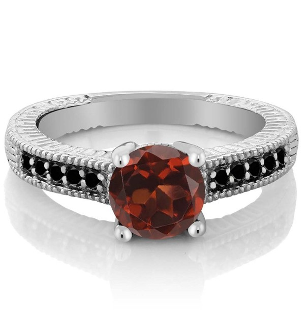 1.67 Ct Round Red Garnet Black Diamond 925 Sterling Silver Engagement Ring (Available in size 5- 6- 7- 8- 9) - CM11NI4L18R