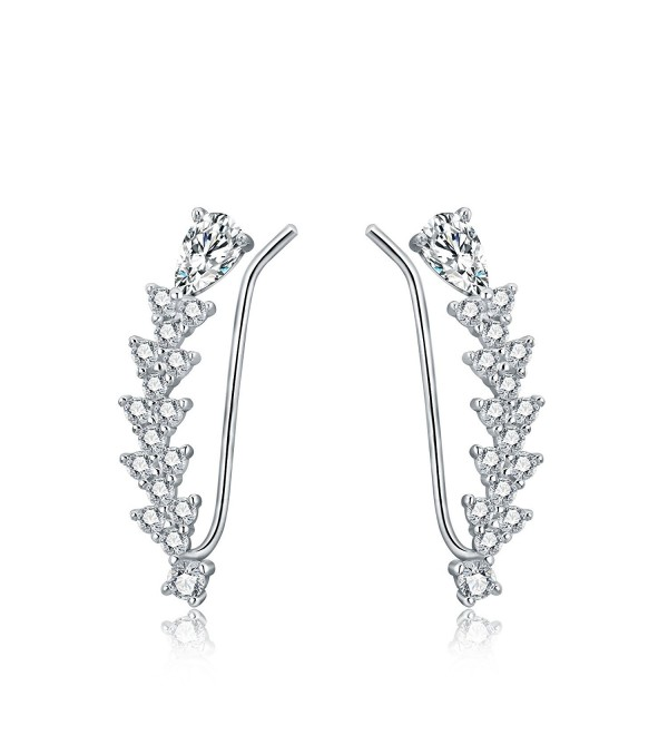 OSIANA Ear Climber Womens CZ Crystal Ear Wrap Cuffs Earrings Sweep Stud Earring Pin - B-Silver - CR183CIK2M3