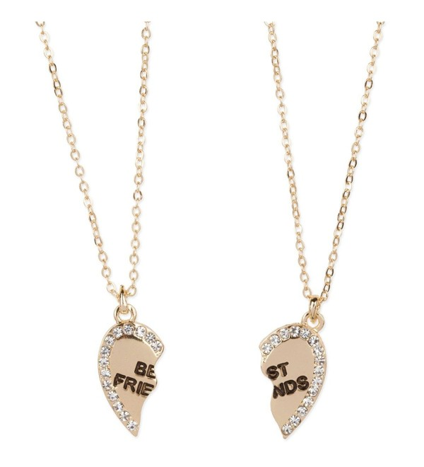 Heart Shaped Best Friends Pendants Crystal Gold Tone 2 Piece Necklace Set - CP11RQMUYDP