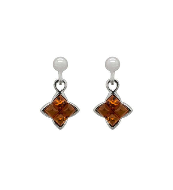 925 Sterling Silver Square Stud Dangle Earrings with Genuine Natural Baltic Amber. - Cognac - CJ12MZIJZV5