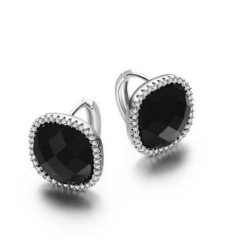SBLING Platinum Plated Black Small Halo Drop Earrings with Cubic Zirconia - C812IAEVD7H