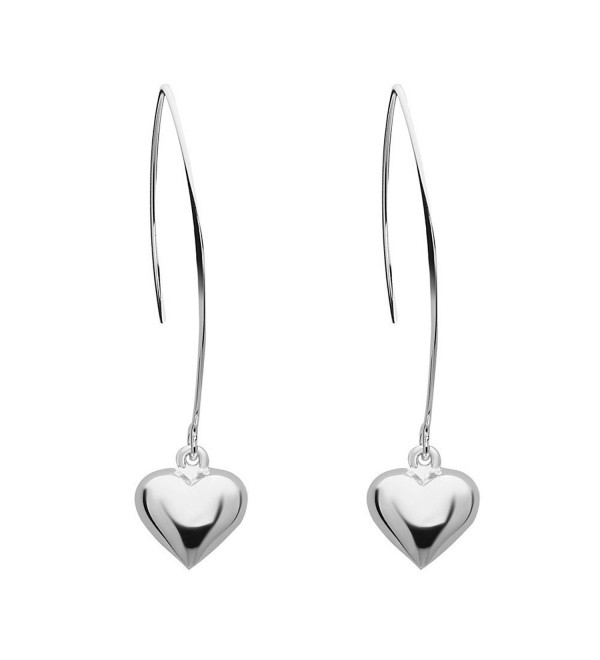12MM Puffy Silver Heart with Almond Hook 100% Hypoallergenic and Nickel Free - C8188I84SOW