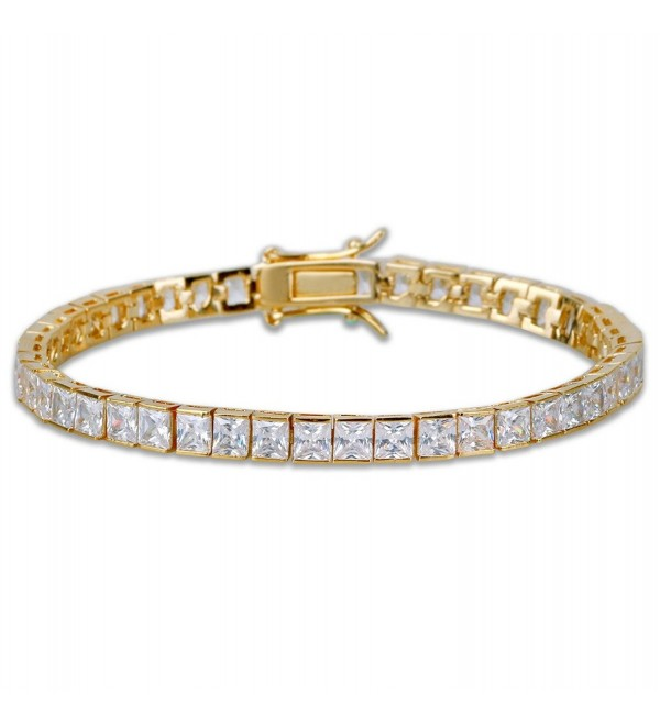 "JINAO 1 Row AAA All Iced Out Tennis Bling 4-6mm Square Cut Lab Simulated Diamond Bracelet 8"" - CF187W6HNZ0"