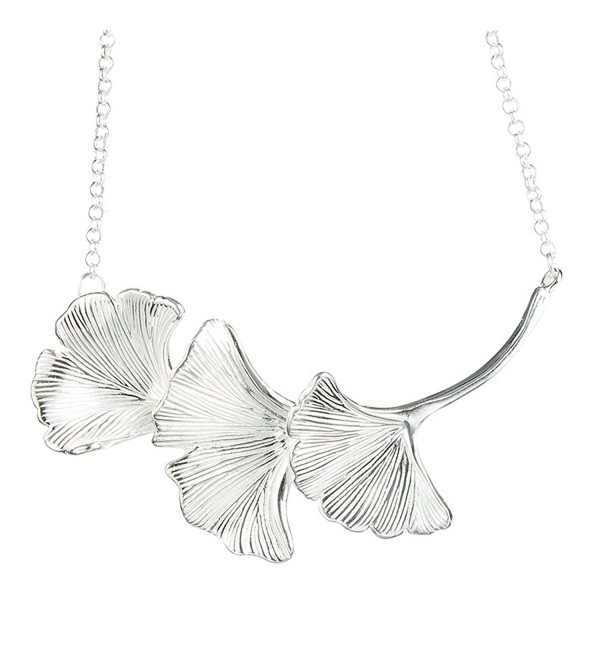 Helen de Lete Lovely Three Ginkgo Leaves Sterling Silver Necklace - C612O02HAGY
