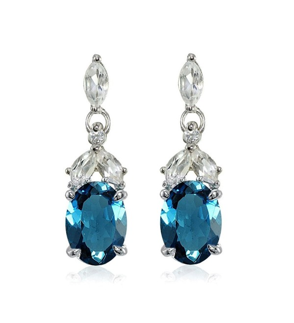 Sterling Silver London Blue Topaz and White Topaz Oval Dangle Earrings - CO17YZ925Q4