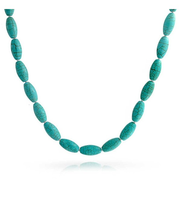 Bling Jewelry Silver Plating Reconstituted Turquoise Gemstone Knotted Oval Beaded Necklace 18 Inches - C311IL1Z01L