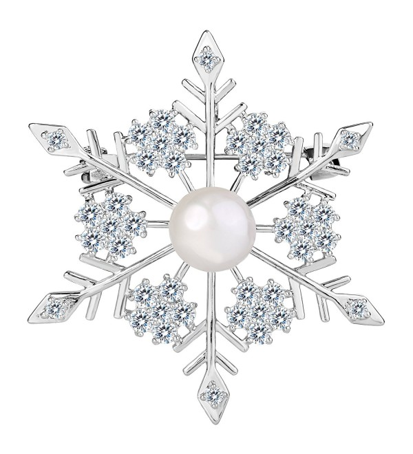 EVER FAITH Women's Prong CZ Simulated Pearl Winter Party Snowflake Flower Brooch Clear Silver-Tone - CV1882KI59D