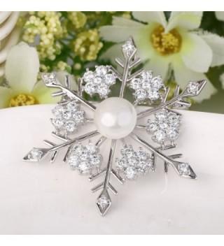 EVER FAITH Simulated Snowflake Silver Tone