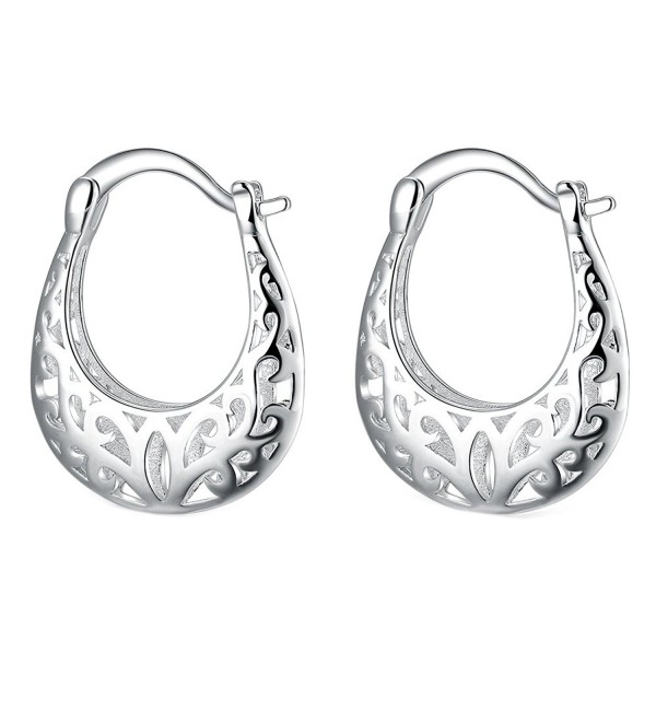 AOVR Fashion Women's Hollow Ear Clip 925 Sterling Silver Plated Hoop Earrings - PCE632 - CX17AZH8GX6
