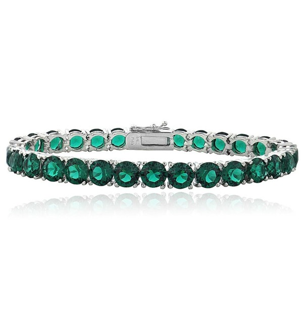 Bria Lou Silver Flashed Tennis Bracelet Made with Swarovski Crystals- 7.2 Inches (all colors) - Green - CP124I4EZJR