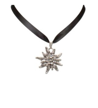 Bavarian Rhinestone Edelweiss Satin Necklace