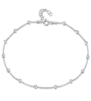 Fine Sterling Silver Adjustable Anklet - Bead Chain - CD1820IHA0W