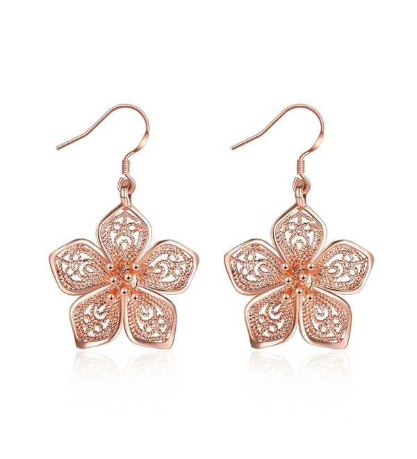 Silver Flower Drop Dangle Earrings for Women Teen Girls Flower Earrings- by DreamSter - 18K Rose Gold Plated - C31897E4969