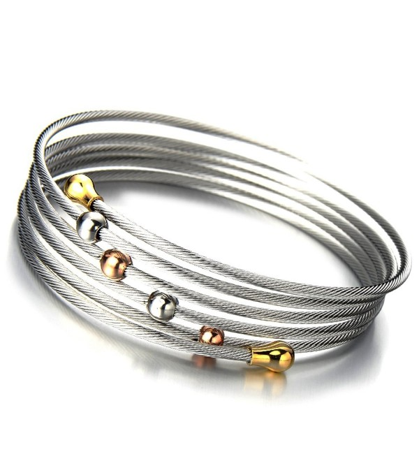 Elastic Adjustable Ladies Steel Twisted Cable Cuff Bangle Bracelet Elastic Multi-lap Silver Gold Two-tone - 1 - CU11NQKDUEV