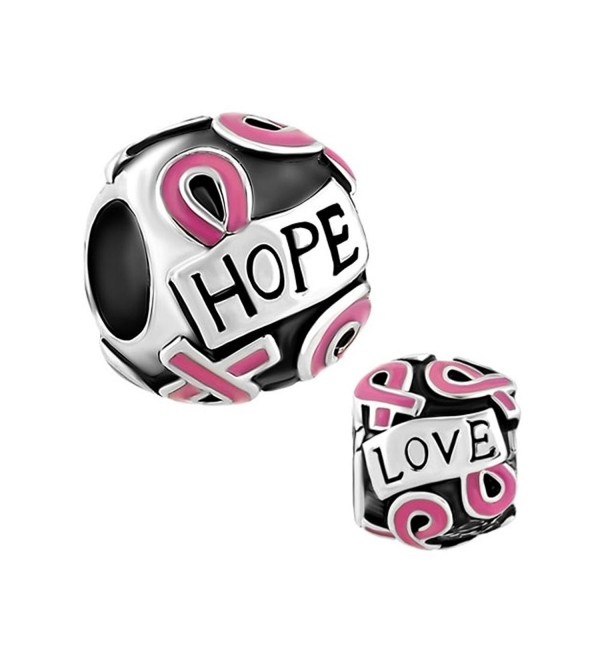 LovelyJewelry Breast Cancer Awareness Pink Ribbon Courage Hope Beads For Bracelet - CD11TC1K5GT