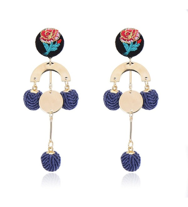 Pipitree Rose Flower Velvet Ball Earring Geometric U-shaped Statement Dangle Earrings Pom Pom Jewelry - Blue - CX188A2375N