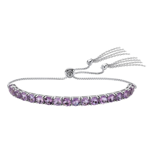 "Platinum over Sterling Silver Slider Bracelet (4mm)- Round Genuine Purple Amethyst- 10"" Adjustable - CO187NW2X0E"