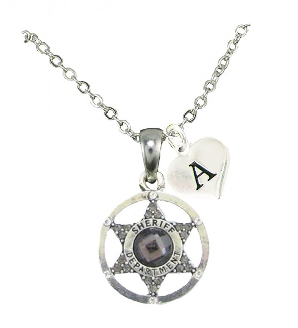 Custom Gray Crystal Sheriff Deputy Silver Necklace Jewelry Choose Initial All 26 - CY12MXNU630
